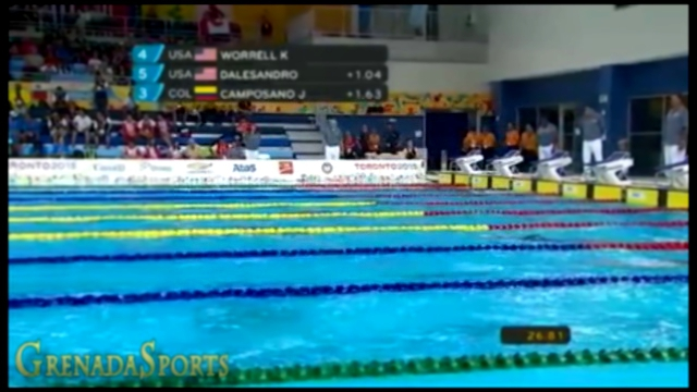 Kelsi Worrell of USA wins Women's 100m Butterfly Heat 1 in a new PanAm Record of 57.24 seconds